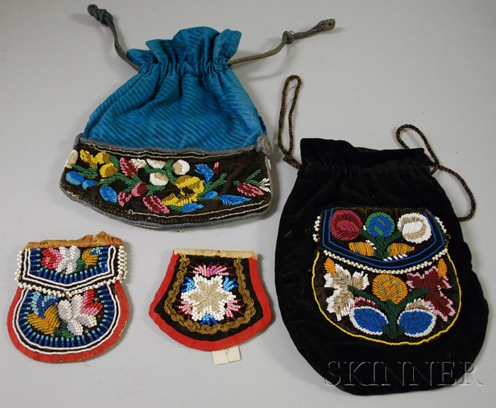 Four Floral Decorated Native American Beaded Bags