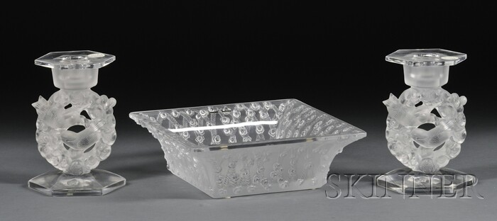Lalique Crystal Carree Roses Bowl and Pair of Candleholders in the Mesanges Pattern