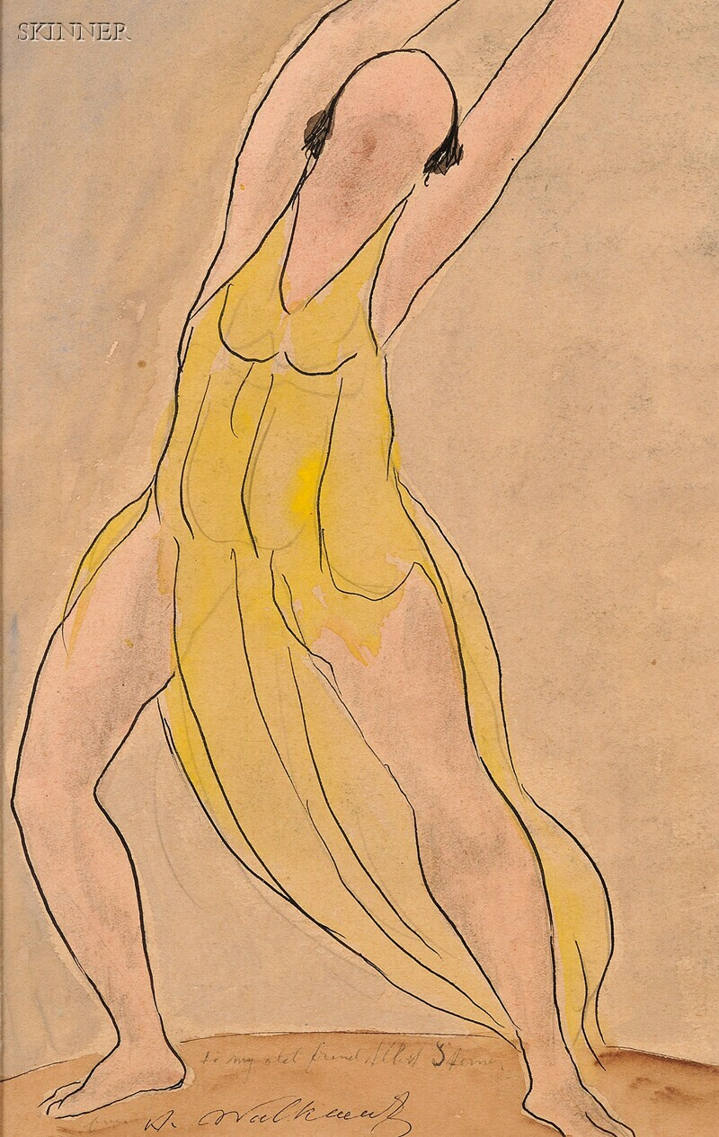 Abraham Walkowitz (American, 1878-1965)      Portrait of a Dancer, Probably Isadora Duncan