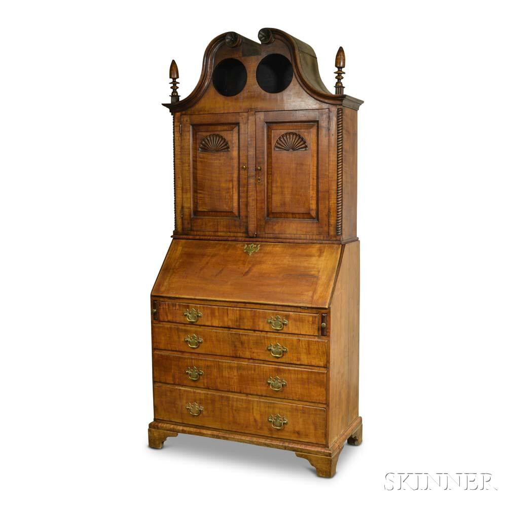 Queen Anne Maple Bonnet-top Secretary/Bookcase