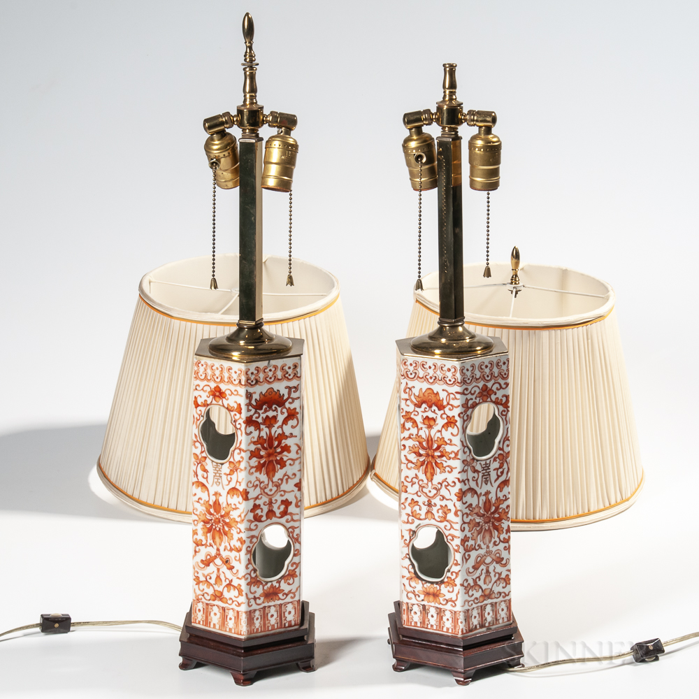 Pair of Export Porcelain Lamps