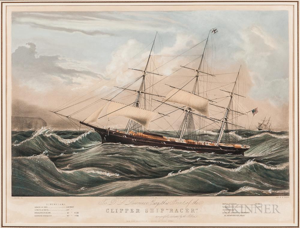 "Nathaniel Currier Lithograph Clipper Ship ""Racer,"""
