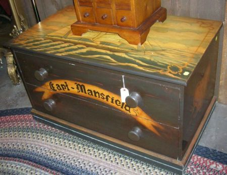 British Polychrome Marine Decorated Wooden Two-Drawer Low Chest