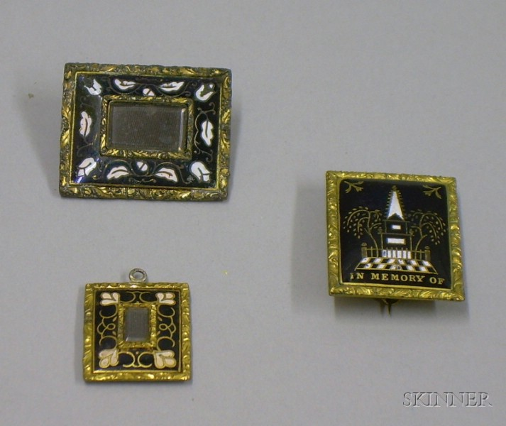 Three Antique Gilt and Enamel Memorial Jewelry Items