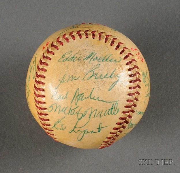 1954 New York Yankees/Washington Senators Autographed Baseball