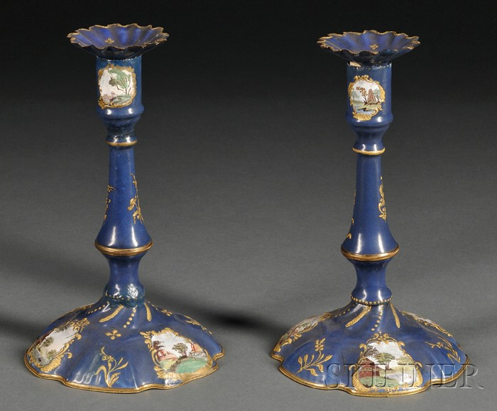 Pair of French Copper Enamel Candlesticks