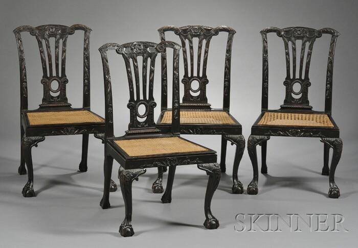 Twelve Georgian-style Carved Mahoganized Side Chairs