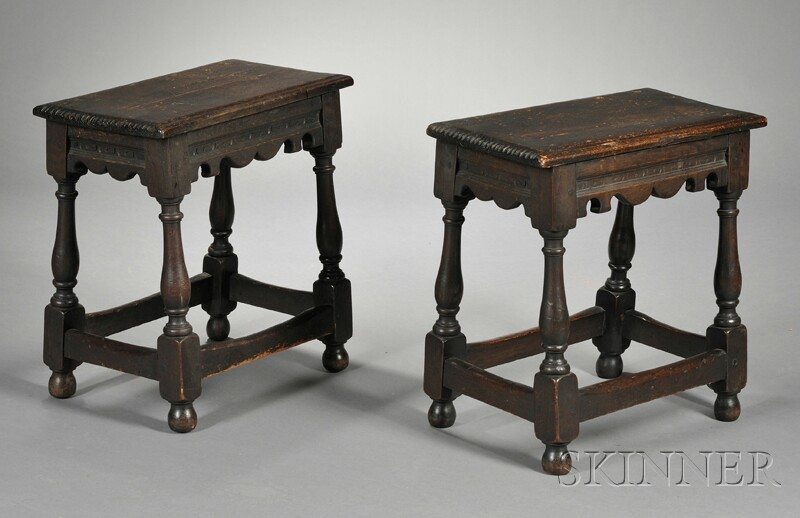 Two Jacobean Carved Oak Joint Stools