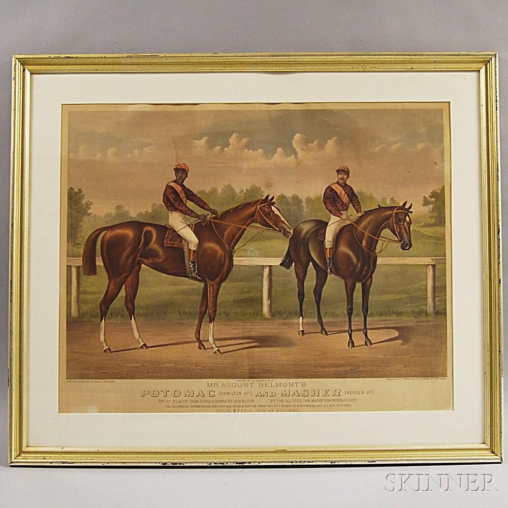 Framed Currier & Ives Engraving Potomac and Masher