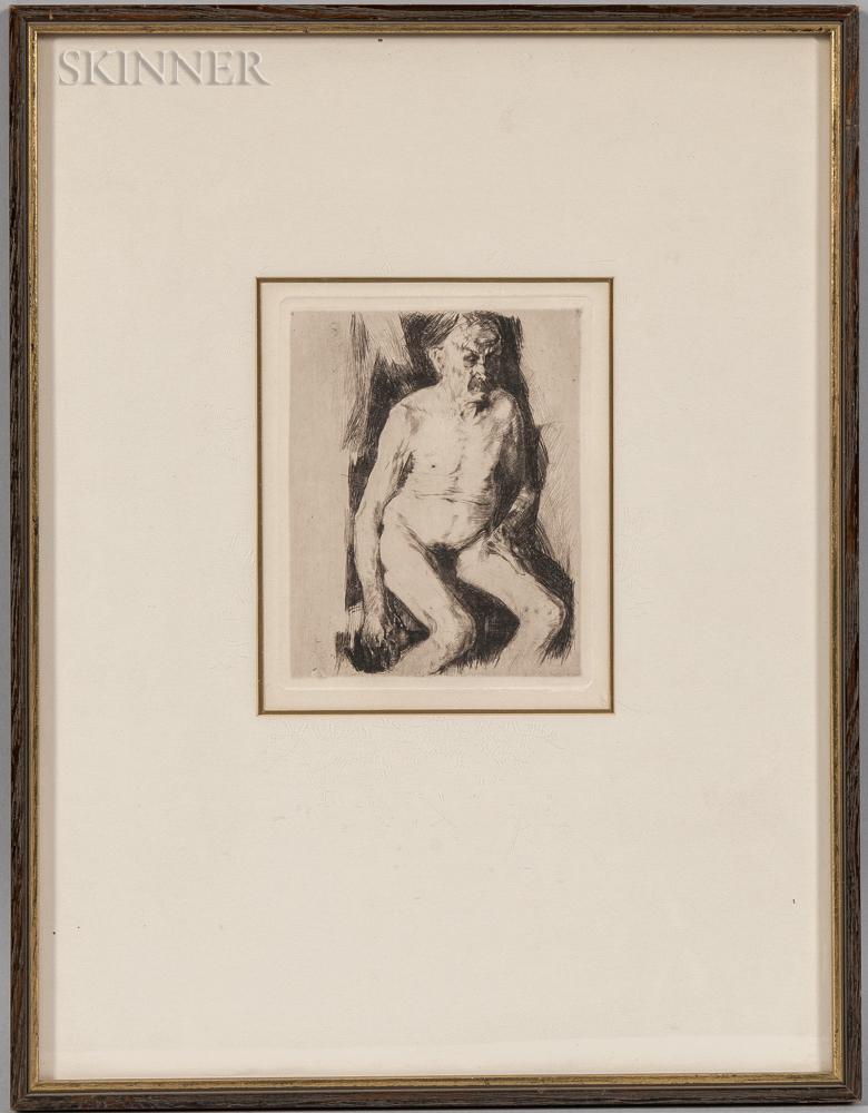 Käthe Kollwitz (German, 1867-1945)      Seated Male Nude (Sitzender männlicher Akt)