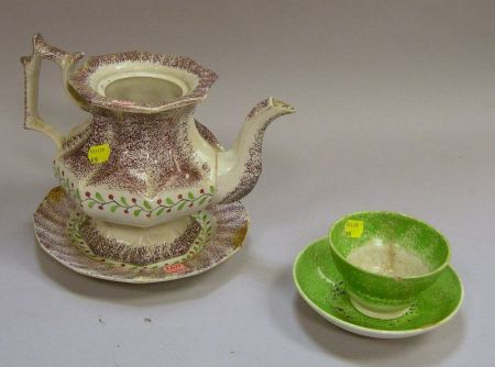 Purple and White Spatterware Coffe Pot Without Lid and Plate and a Green and White S and Saucer.