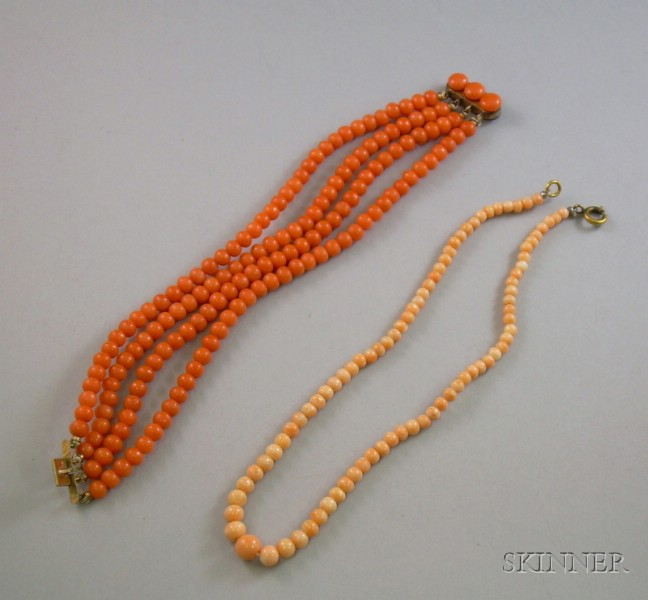 Quadruple-Strand Coral Bead Bracelet and Child's Coral Bead Necklace