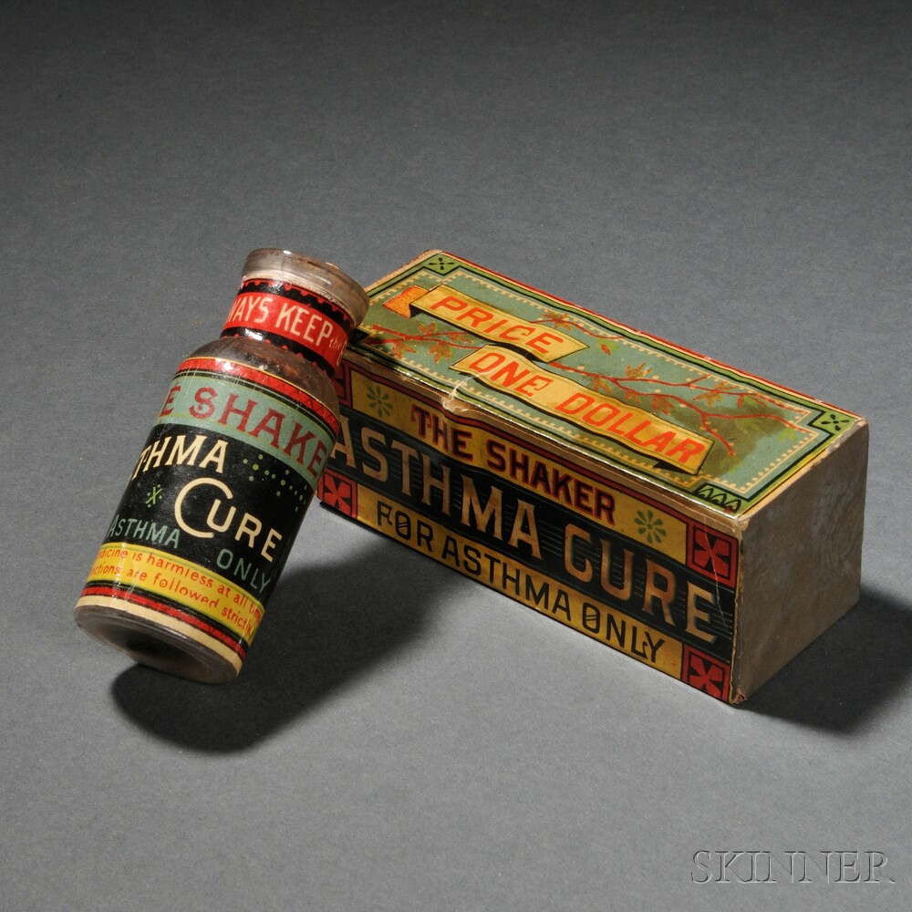"Shaker Medicinal ""Asthma Cure"" Bottle in Original Box"