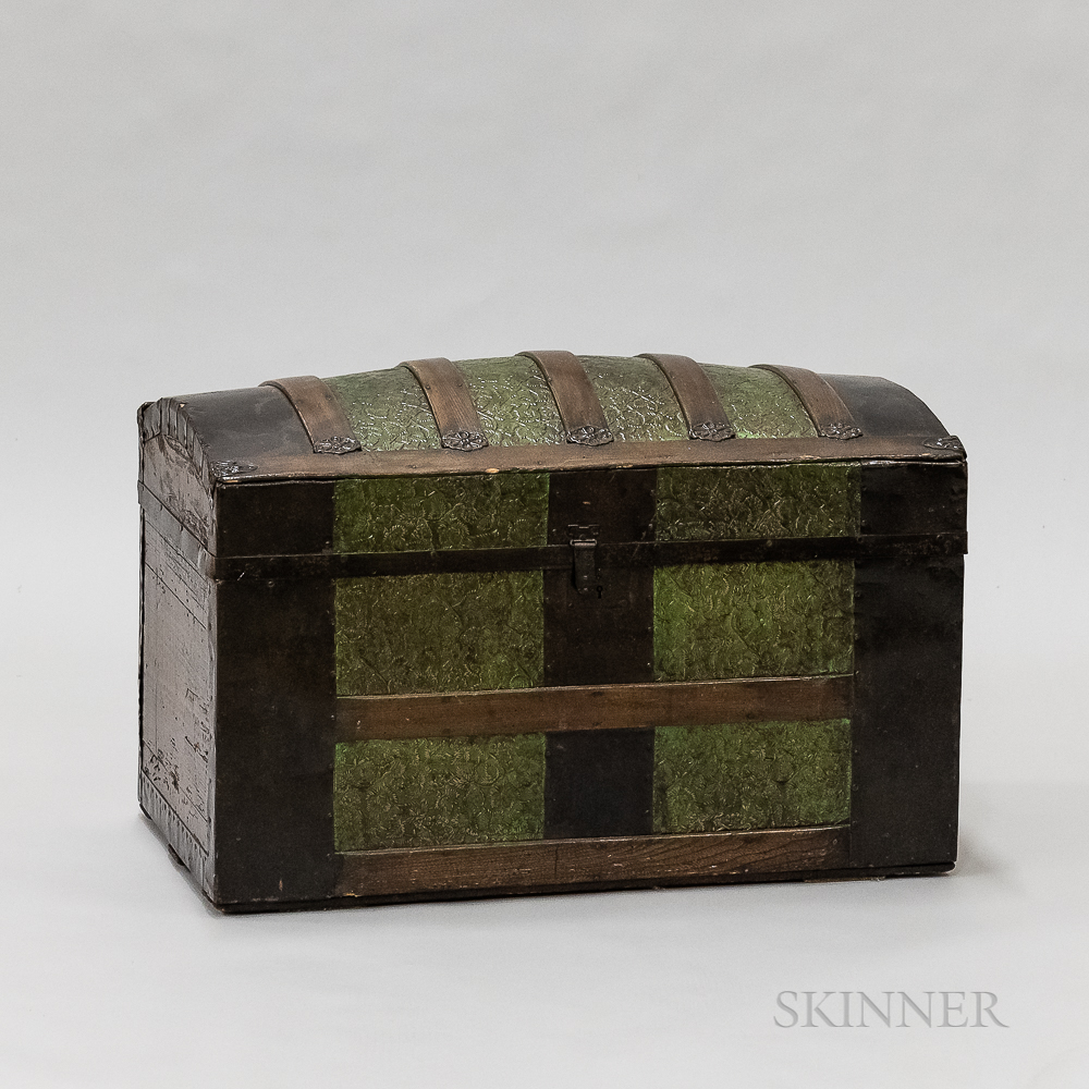 Oak Dome-top Trunk with Pressed Panels