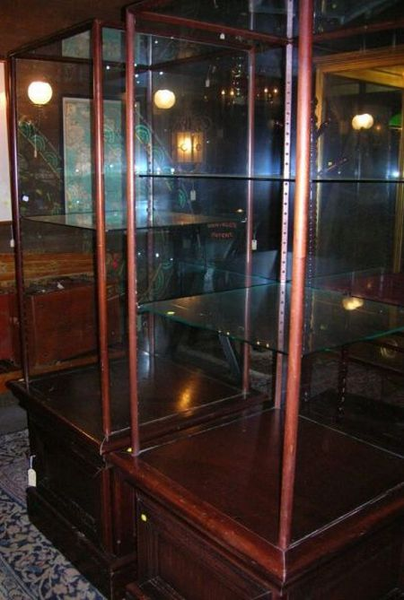 Pair of Edwardian Mahogany and Glass Two-part Pedestal Cabinet-base Display Cases