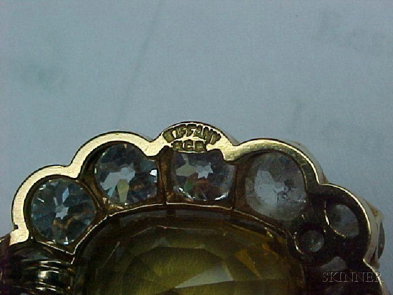 Antique 18kt Gold, Yellow Sapphire and Diamond Pendant, Tiffany & Co.
