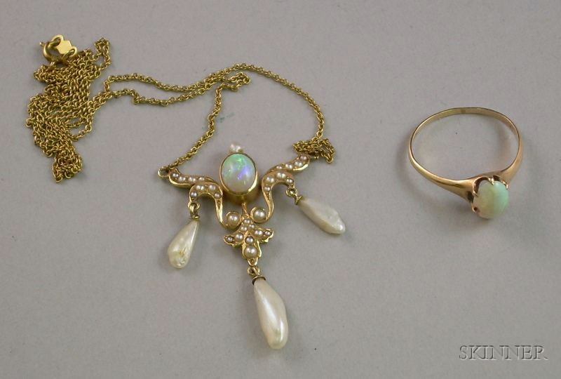 14kt Gold Art Nouveau Opal and Freshwater Pearl Necklace and an English Gold and Opal Ring.