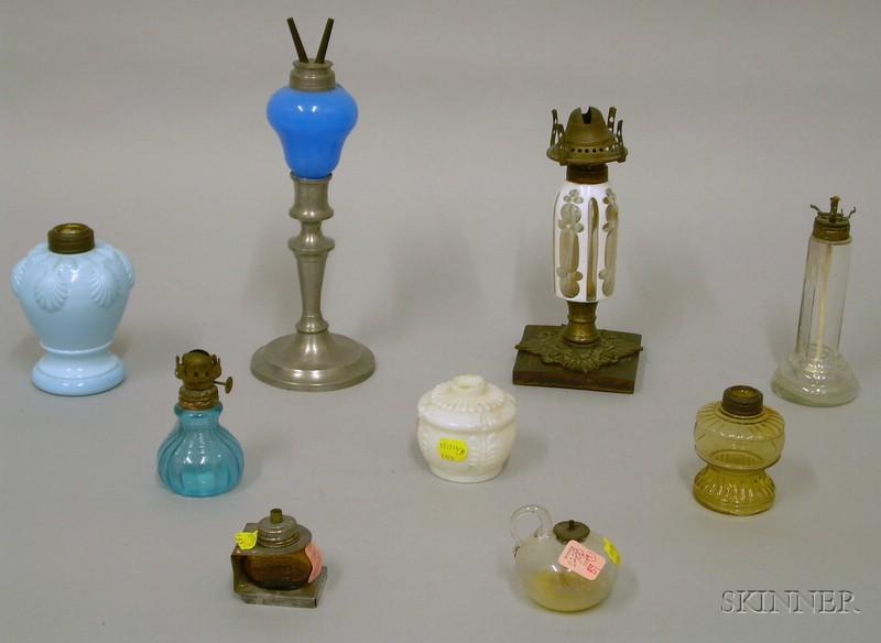 Nine Assorted Glass and Metal Lamps