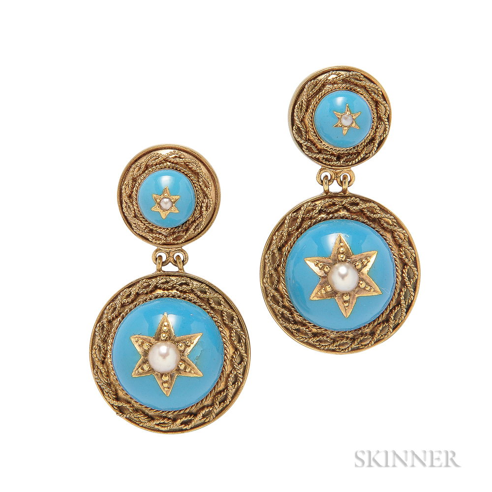 Antique Gold and Enamel Earrings