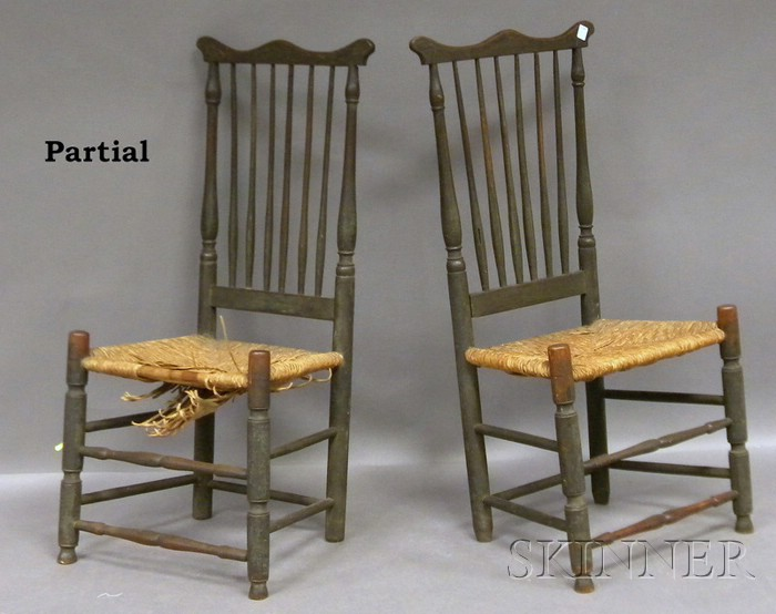 Four Wooden Spindle-back Side Chairs with Woven Rush Seats