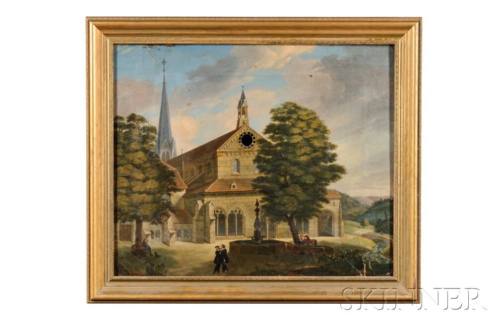 European School, 19th Century      Portrait of a Gothic Stone Church.