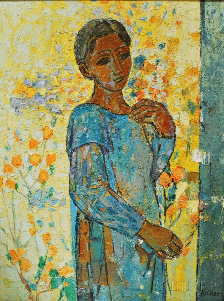 Russell Kordas (American, 20th Century)      Woman with Flowers