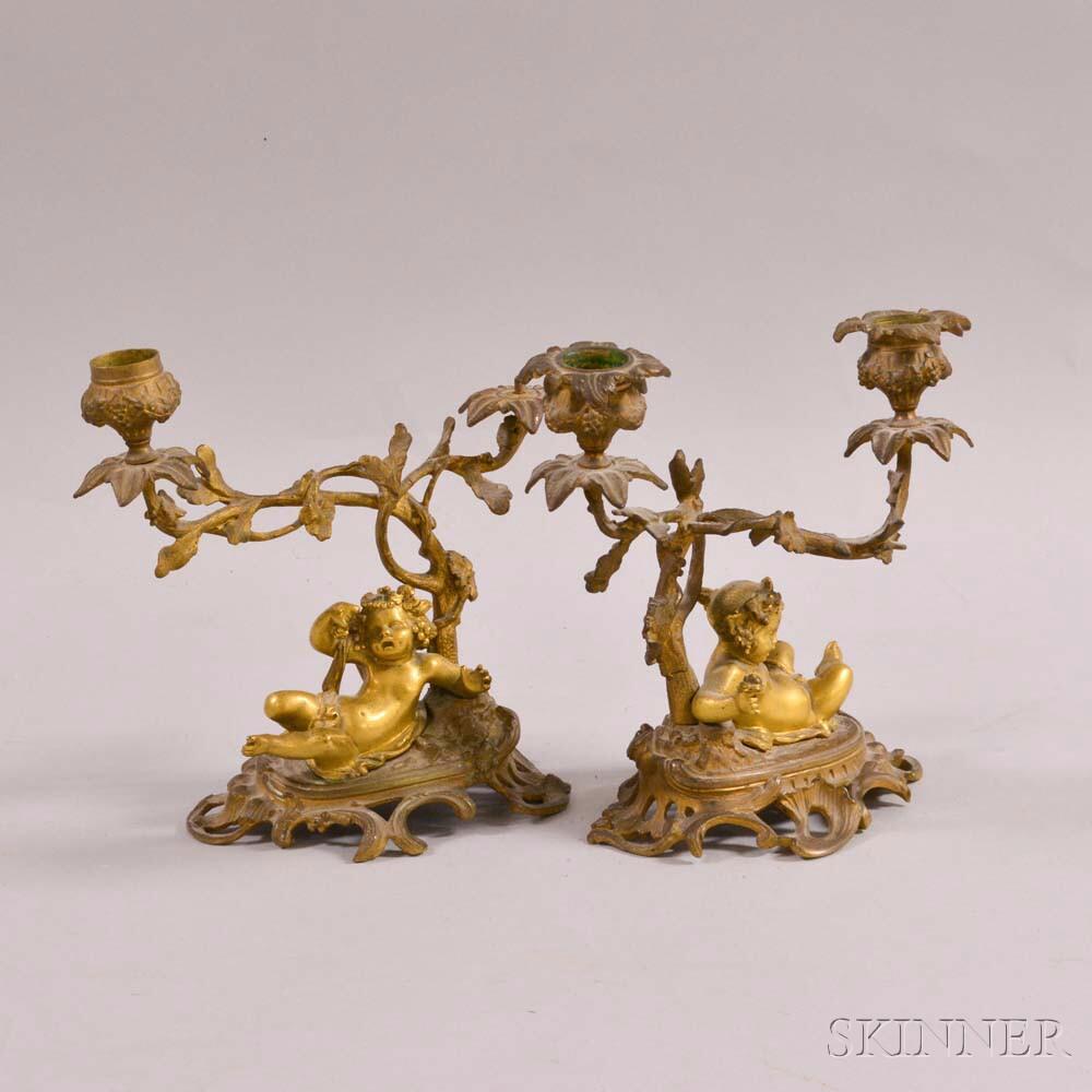 Pair of Gilt-bronze Cherub-form Two-light Candelabra