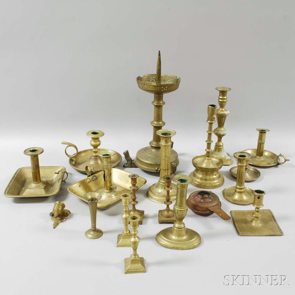 Group of Brass Candlesticks, Tapersticks, and Chambersticks