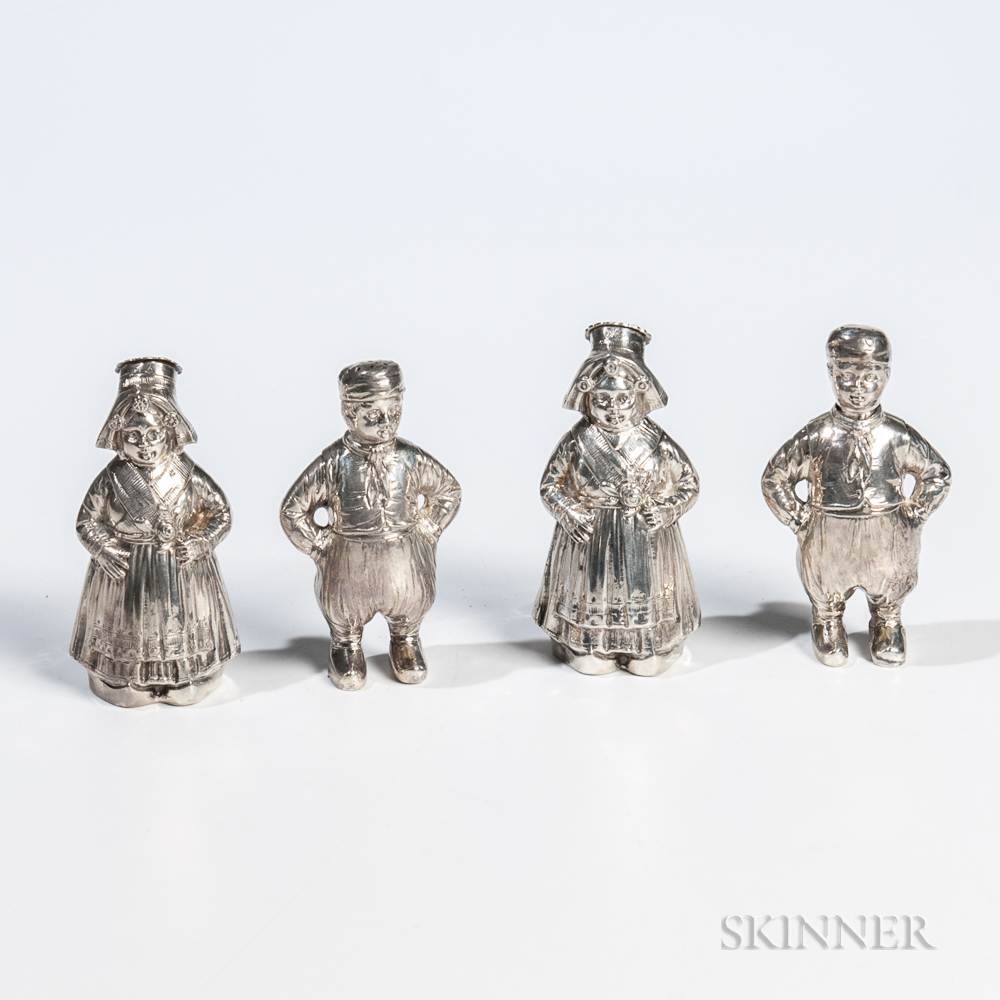 Four German .800 Silver Figural Shakers