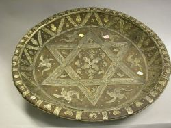 Large Moroccan Silver Mounted Wooden Bowl.