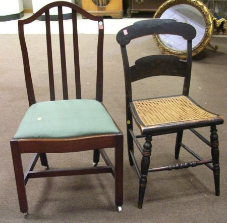 Federal Cherry Side Chair and a Hitchcock Grained and Stencil Decorated Side   Chair