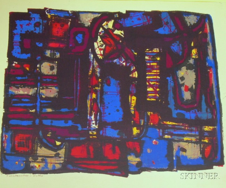 Unframed Lithograph of an Abstract Composition
