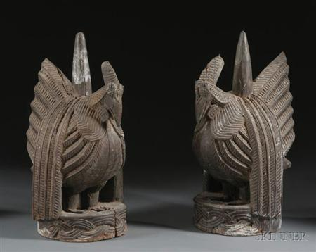 Pair of African Carved Wood Roosters