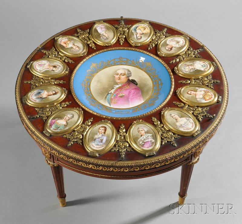 Louis XVI-style Gilt-bronze- and Sevres-style Porcelain-mounted Guéridon