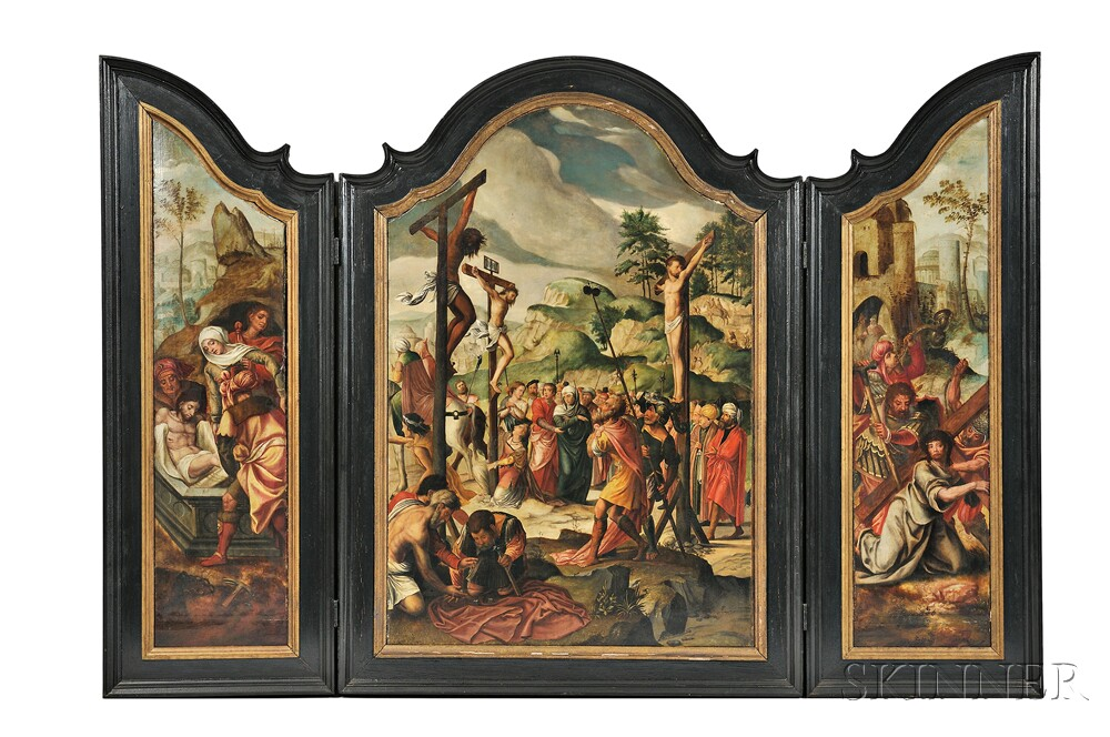 Attributed to Jan van Rillaert the Elder (Flemish, 1495-1568), Triptych Altarpiece: Central Panel showing the Crucifixion, Right Panel