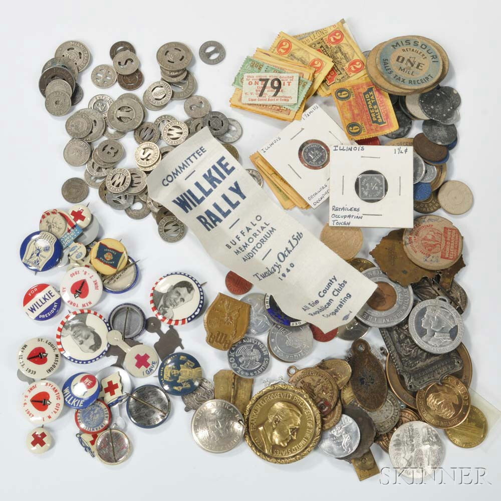 Group of U.S. Sales Tax Tokens, Street Car Tokens, Campaign Memorabilia, and Badges