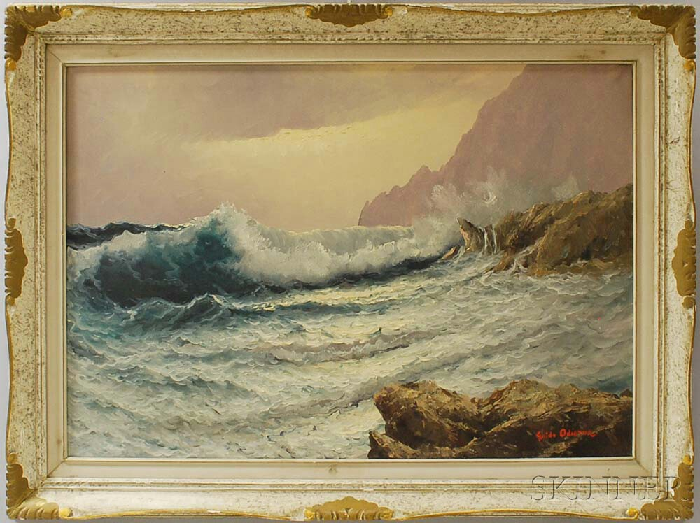 Guido Odierna (Italian, 1913-1991)      Crashing Waves and Rocks.