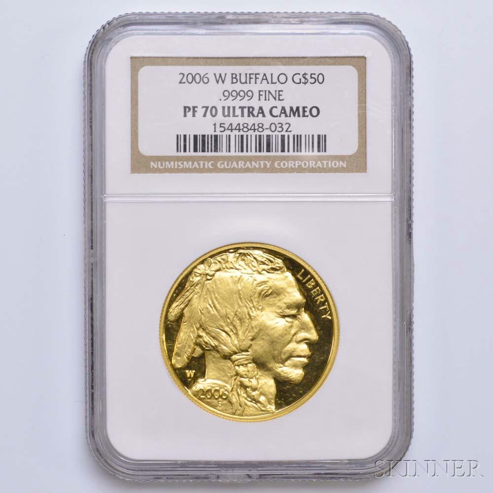 2006-W $50 One-ounce Gold Buffalo, NGC PF70 Ultra Cameo.     Estimate $1,200-1,500