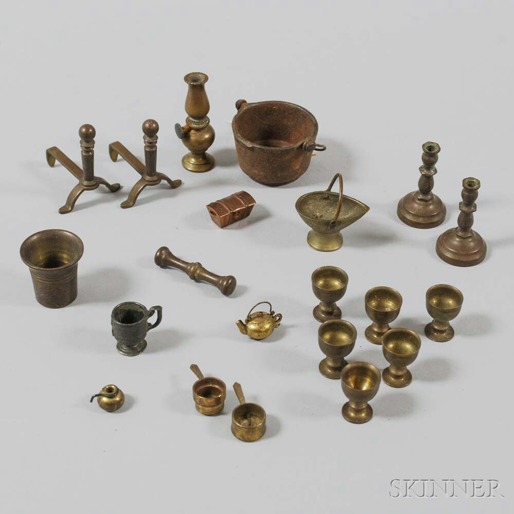 Group of Mostly Turned Brass Dollhouse Domestic Items.     Estimate $100-150