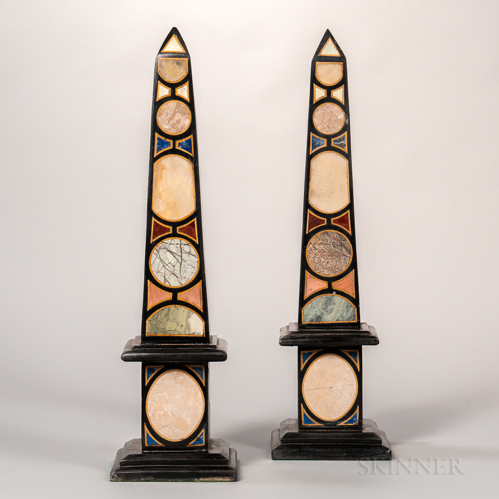 Pair of Grand Tour-style Marble Inlaid Obelisks