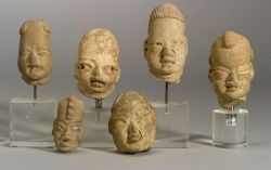 Six Pre-Columbian Pottery Head Fragments