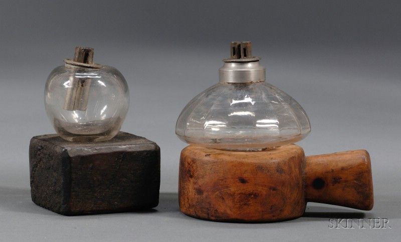Two Glass Peg Lamps on Carved Wooden Bases