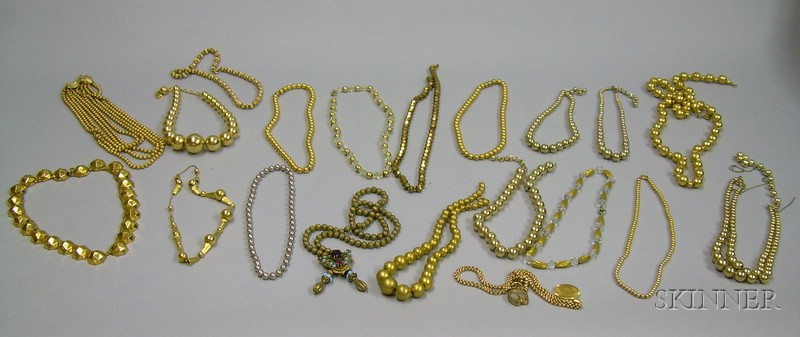 Nineteen Mostly Goldtone Beaded Necklaces