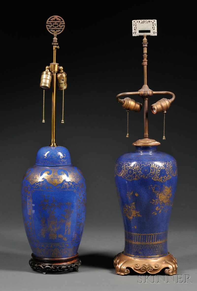 Two Chinese Powder Blue and Gilded Porcelain Lamp Bases