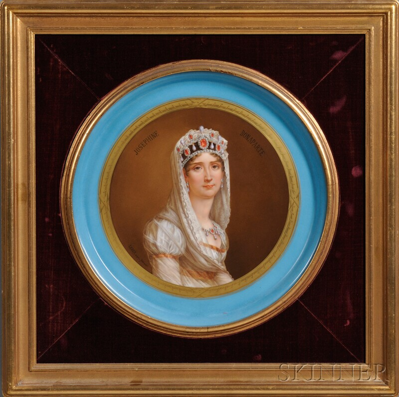 Pair of Sevres-style Hand-painted Porcelain Portrait Chargers