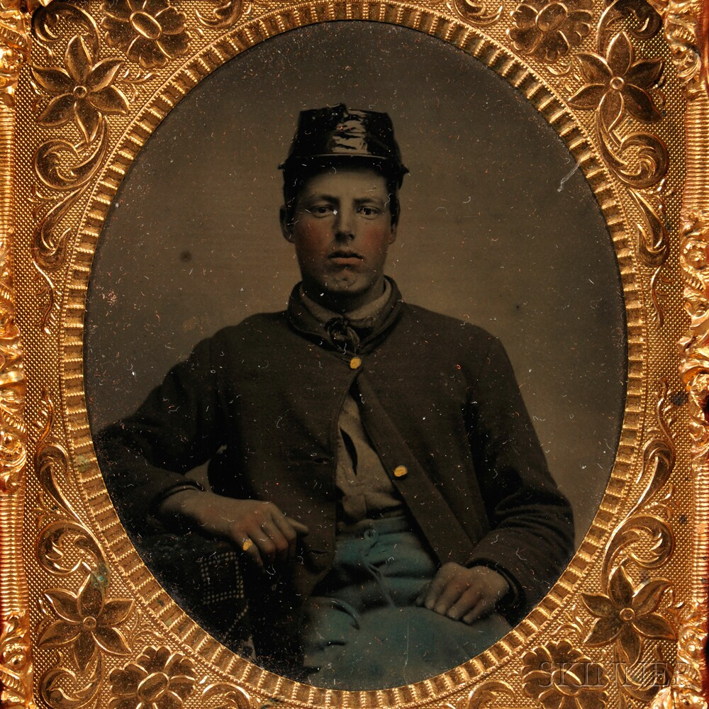 Sixth-plate Tintype of a Civil War Soldier