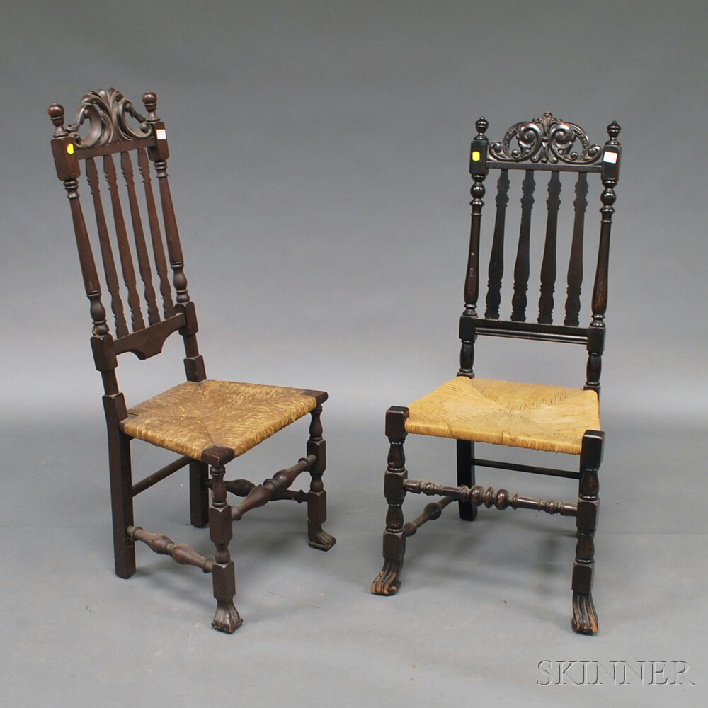 Two Carved Banister-back Prince of Wales Crest Side Chairs