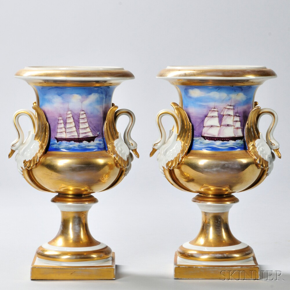 Pair of Limoges Porcelain Urns with Swan Handles