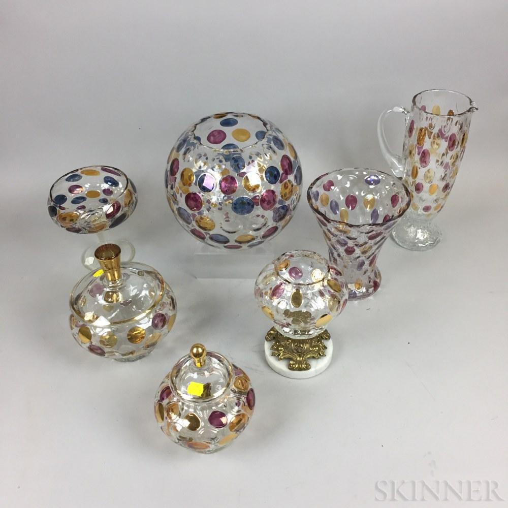 Seven Pieces of Mid-century Czech Glassware