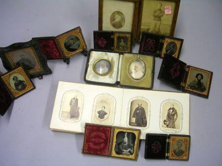 Group of Early Portrait Photographs, Carte-de-Visites, an Album, Etc.